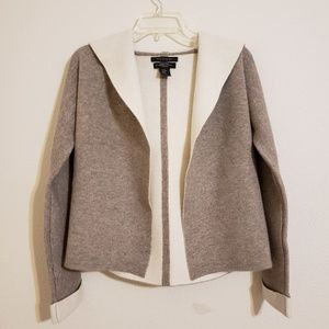 Tahari Luxe Cashmere Gray Hooded Cardigan Sweater